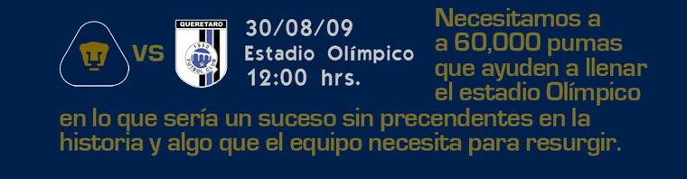 Imagen: PUMAS vs QUERETARO, este domingo, necesitamos a 60,000 pumas que llenen CU para apoyar al equipo a resurgir